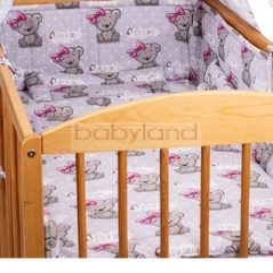 Bébi ágynemű garnitúra 3 részes # Maci lány - szürke