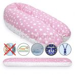 Scamp Formázható univerzális szoptatós párna pamut huzattal / PinkWhiteLittleBigStars